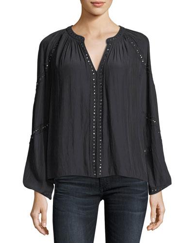 Gilda V-Neck Long-Sleeve Top with Embellishments
