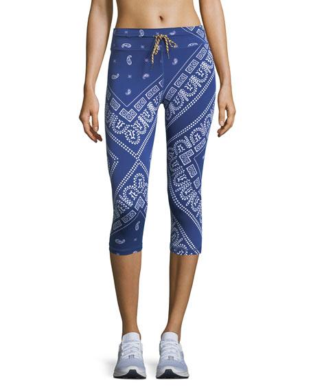 Bandana-Print Drawstring Cropped Leggings