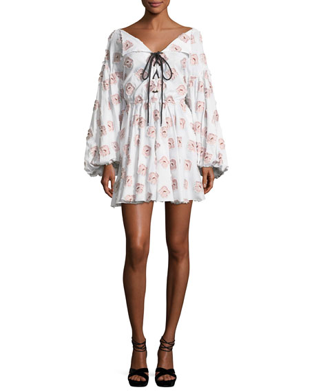 Olympia Blouson-Sleeve Embroidered Cotton Dress