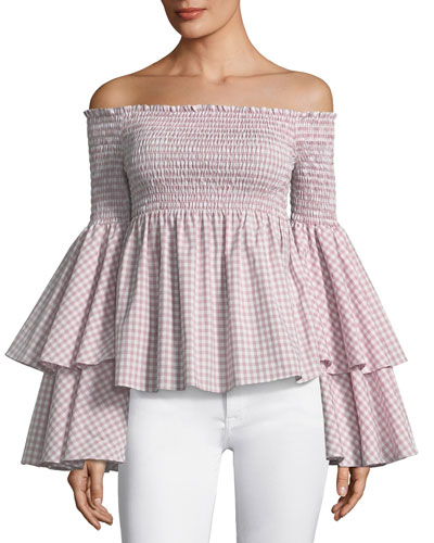 Appolonia Off-the-Shoulder Bell-Sleeve Check-Print Top
