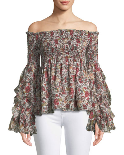 Alessandra Off-the-Shoulder Long-Sleeve Silk Top