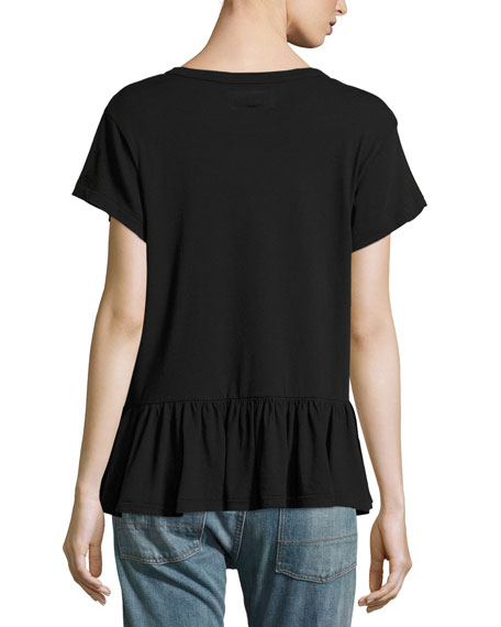 The Ruffle Short-Sleeve Tee, Black