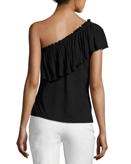 One-Shoulder Ruffled Jersey Top