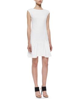 Knit Pique Flare-Skirt Dress, White
