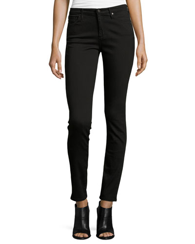 The Prima Mid-Rise Cigarette Jeans, Super Black