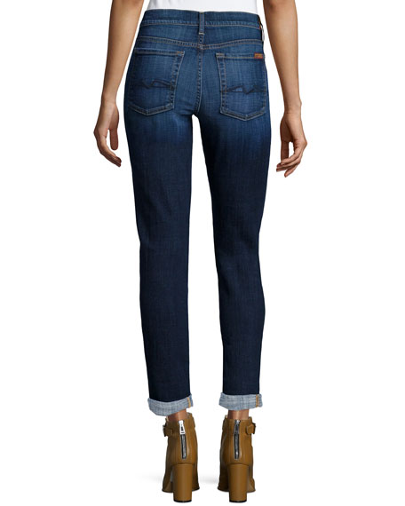 Josefina Slim-Leg Cropped Jeans, Royal Broken Twill