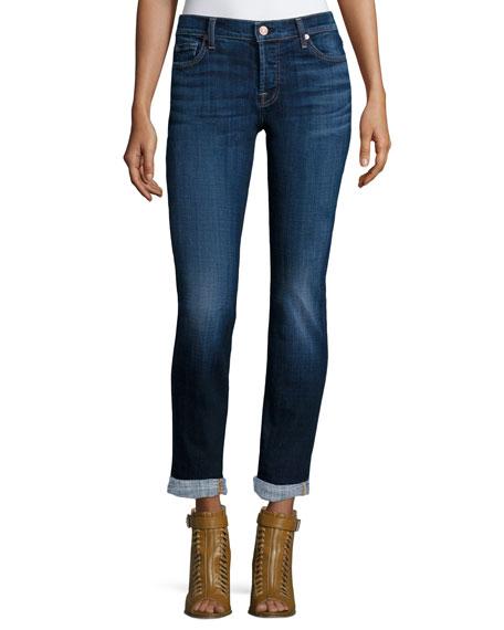 Josefina Slim-Leg Cropped Jeans, Royal Broken Twill