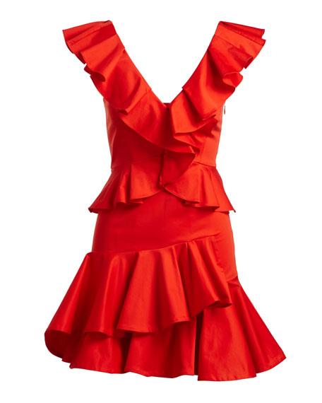 Deep-V Cotton Ruffle Mini Cocktail Dress