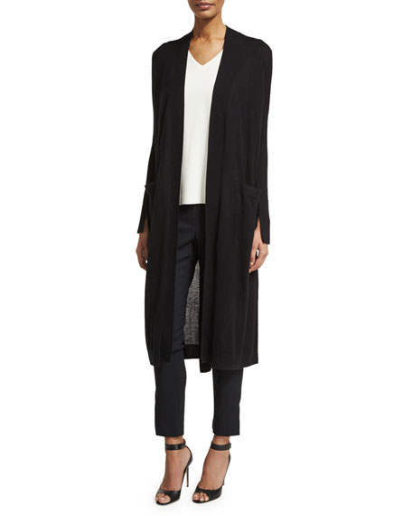 Long Open-Front Duster Cardigan w/ Sash