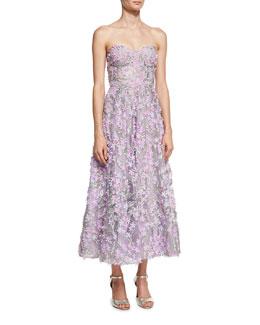 Strapless 3D Floral Cocktail Dress