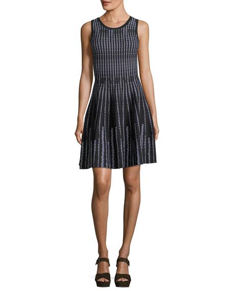 Sleeveless Vertical Optic-Pattern Fit-&-Flare Dress