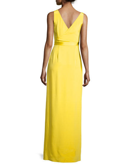 Asymmetric Sleeveless Side-Slit Gown, Yellow