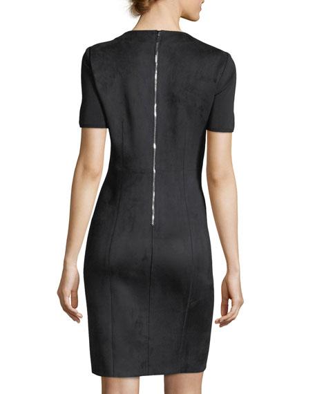 Emily Short-Sleeve Faux-Suede Sheath Dress