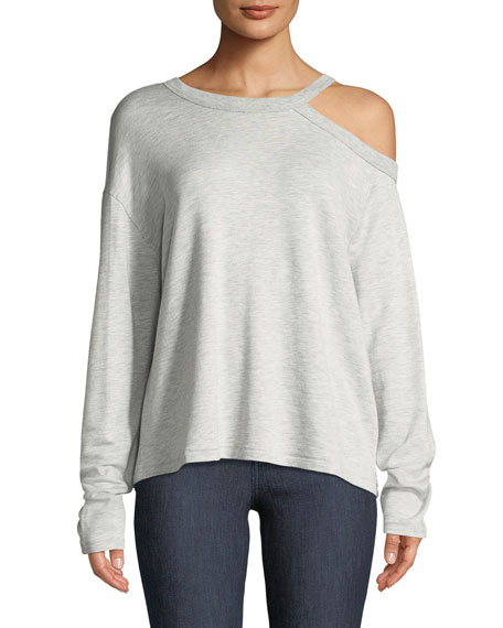 Sky Long-Sleeve Knit Top with Cutout Shoulder