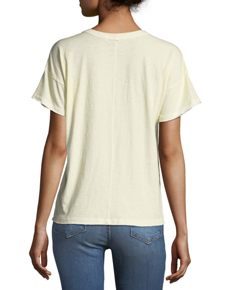 Vintage Crewneck Short-Sleeve Cotton Tee with Pocket