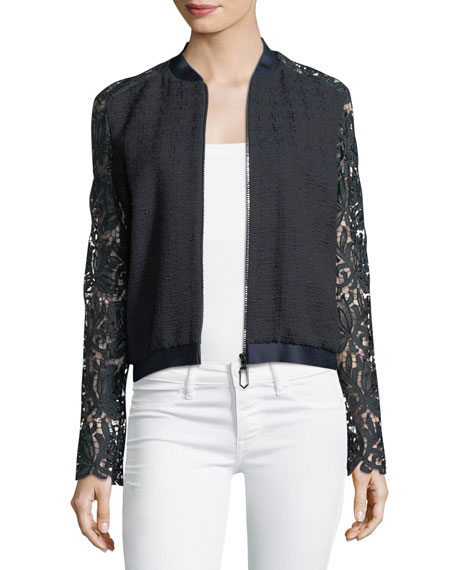 Brandy Lace-Sleeve Bomber Jacket