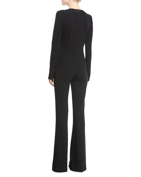 Deep-V Long-Sleeve Bellbottom Crepe Jumpsuit