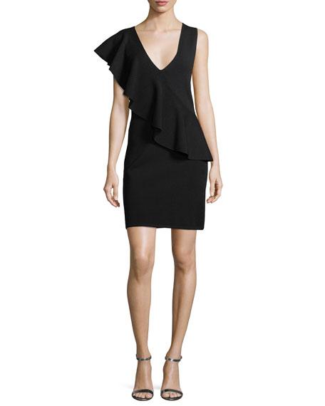 Asymmetric Ruffle Sleeveless Crepe Dress