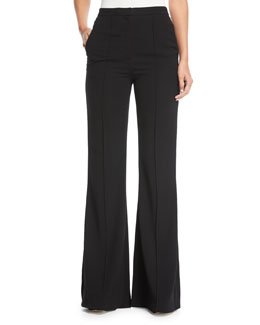 Pleat-Front Mid-Rise Flared-Leg Pants