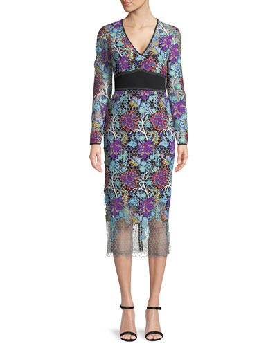 Long-Sleeve Banded Overlay Lace Midi-Length Dress