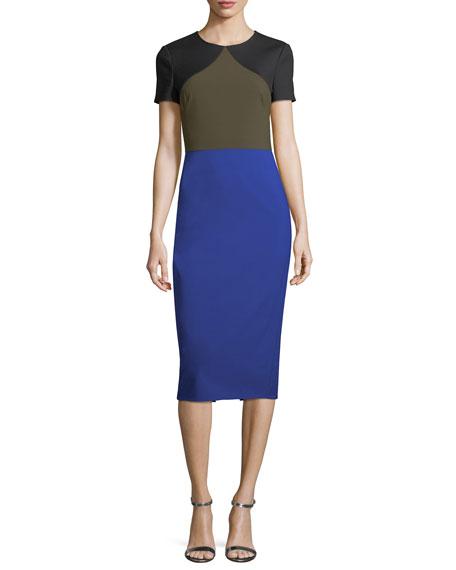 Short-Sleeve Colorblocked Tailored Midi Dress