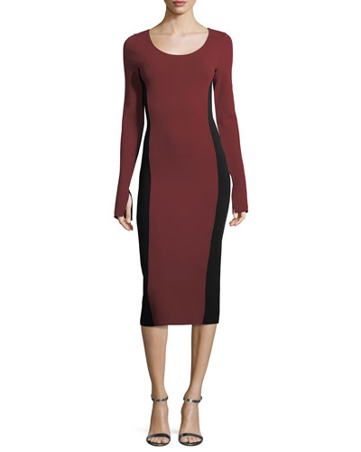 Long-Sleeve Scoop-Neck Two-Tone Midi Knit Dress