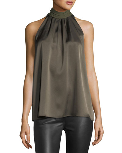 Sleeveless High-Neck Blouse