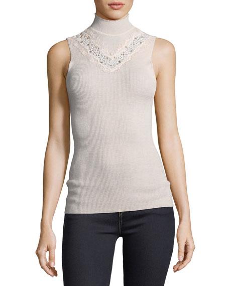 Cheresia Sleeveless Lace-Trim Sweater