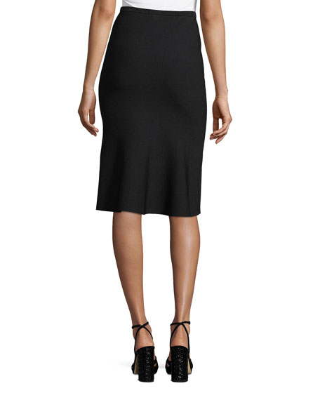 Straight Fluted Knit Skirt