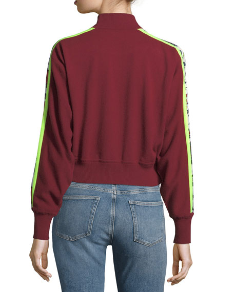 Turtleneck Cropped Mixed-Print Pullover