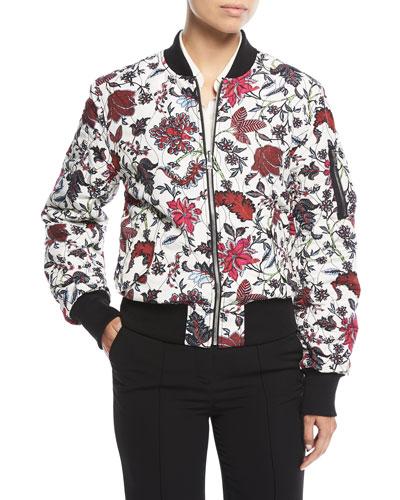Zip-Front Floral-Print Bomber Jacket