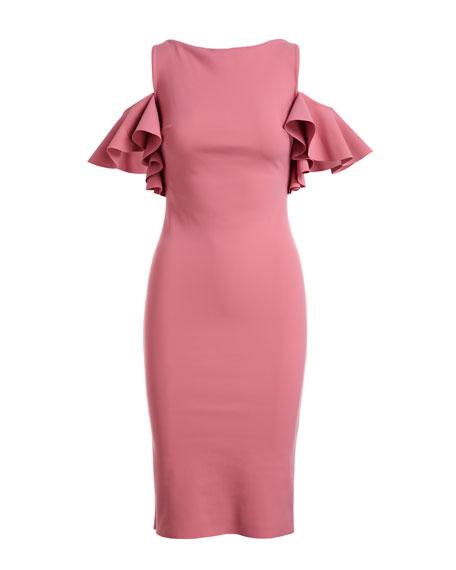 Tata Cold-Shoulder Ruffle-Sleeve Cocktail Sheath Dress