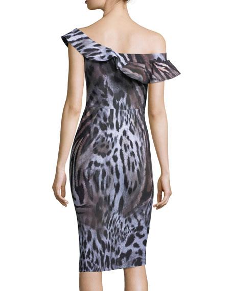 Nida Asymmetric Cap-Sleeve Cocktail Dress