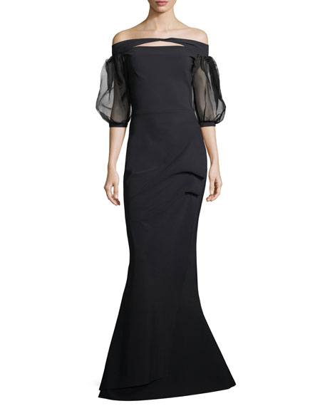 Saida Organza Sheer Half-Sleeve Mermaid Gown
