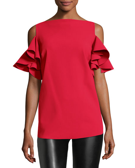 Tatina Ruffle Cold-Shoulder Top