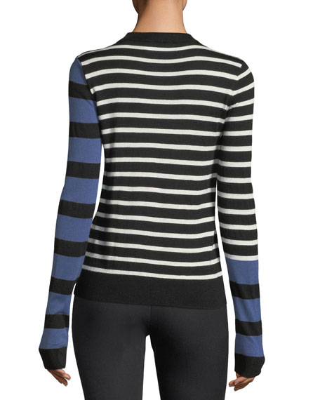 Striped Mock-Neck Pullover Sweater