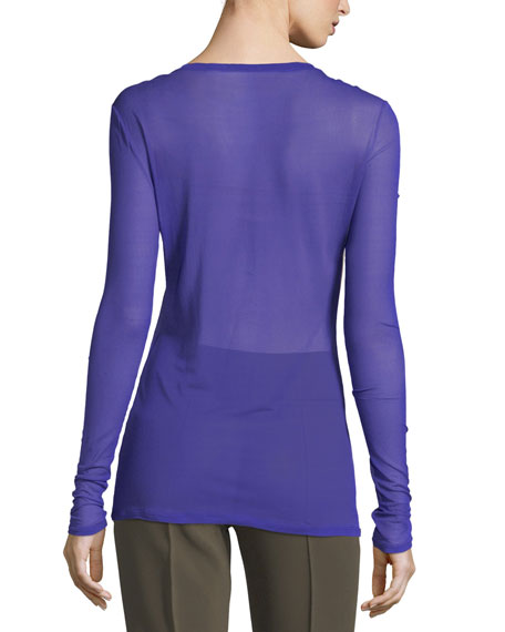 Long-Sleeve Crewneck Semisheer Fitted Pullover Top