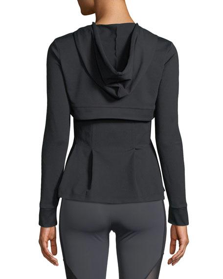 Aurelia Zip-Front Peplum Performance Jacket