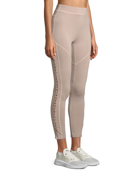 Leyla Ankle-Length Performance Leggings with Lace-Up Sides