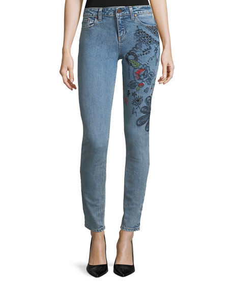 Ao.la MID-RISE SKINNY JEANS WITH EMBROIDERY