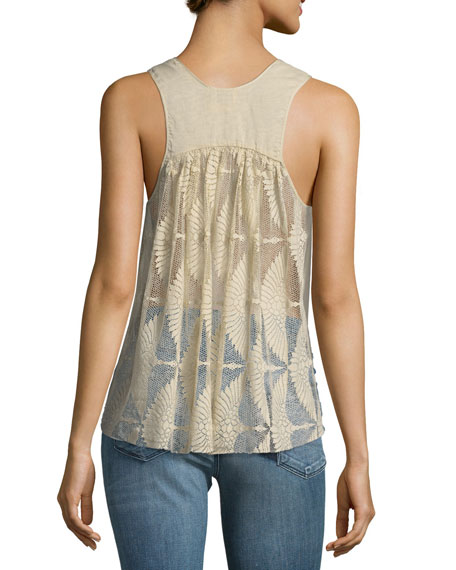 Cotton-Silk Voile Top with Lace
