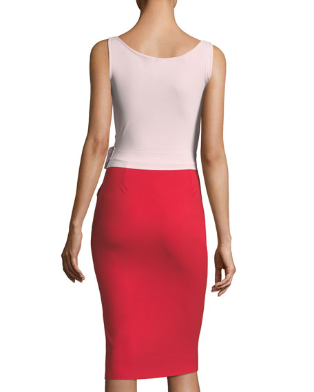 Madalina Colorblock 3D Flower Sheath Dress