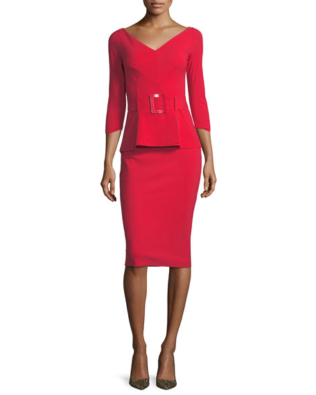 Viorika Belted Peplum Cocktail Sheath Dress
