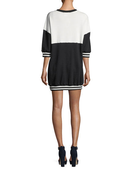 Gussie Crewneck Colorblocked Sweatshirt Dress