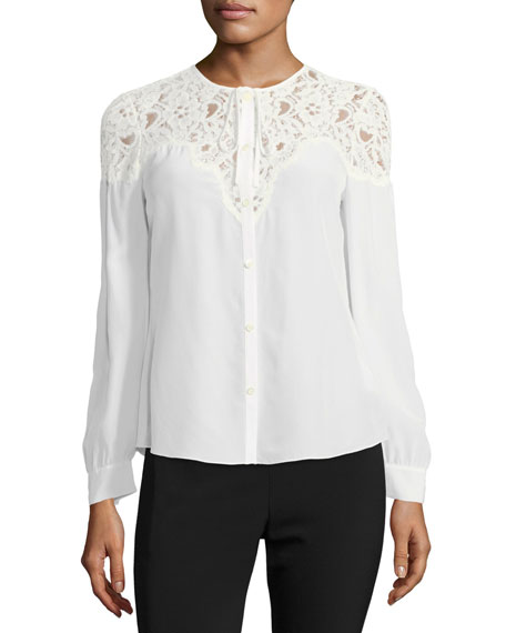 Button-Front Silk Top with Lace Trim