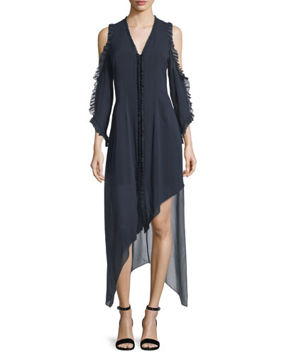 Claudie V-Neck Cold-Shoulder Chiffon Maxi Dress with Ruffled Trim