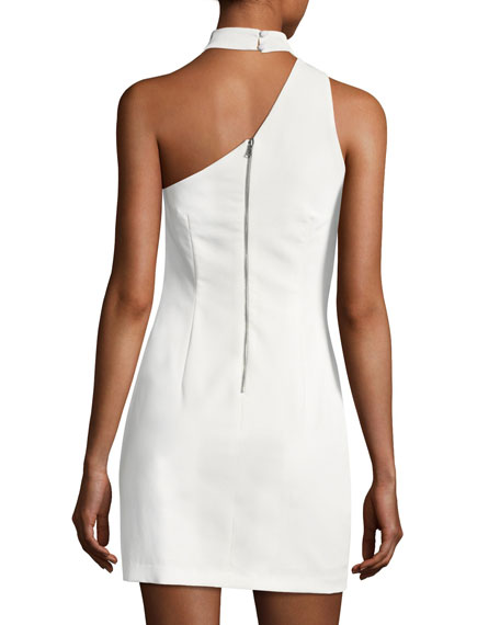 Soshana Collar One-Shoulder Fitted Mini Dress