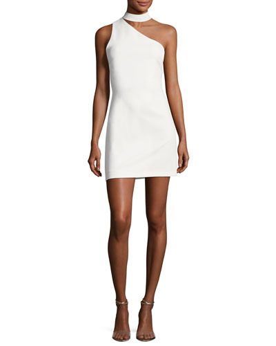 Soshana Collar One-Shoulder Fitted Mini Dress
