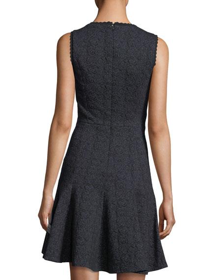 Sleeveless V-Neck Fit-and-Flare Rose Jacquard Dress