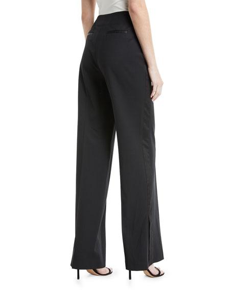 Tuxedo High-Waist Wide-Leg Wool Pants